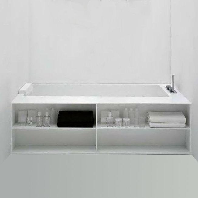 antoniolupi biblio badewanne mit armaturenrand rechts ablage und verblendung mit 2 seitiger. Black Bedroom Furniture Sets. Home Design Ideas