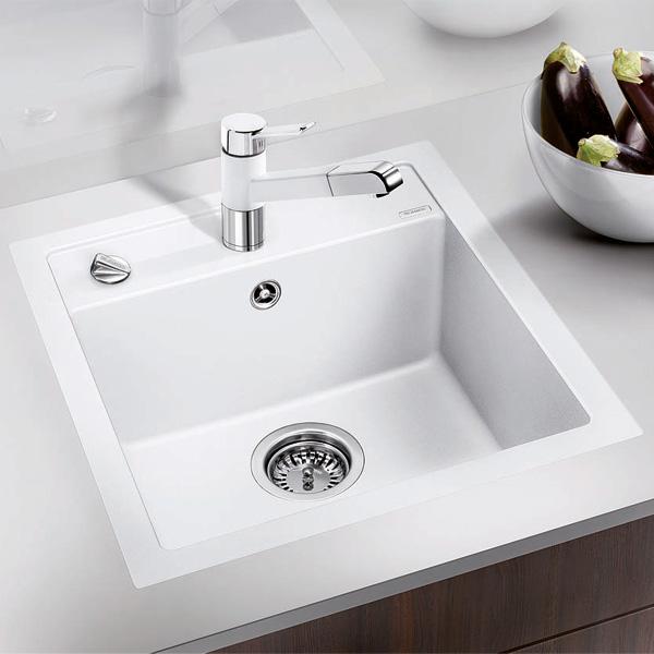blanco dalago 45 f sp le b 45 5 t 50 cm fl chenb ndig becken silgranit puradur ii wei. Black Bedroom Furniture Sets. Home Design Ideas