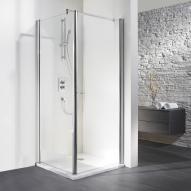 HSK Exklusiv Drehtür für Seitenwand klar hell Edelglas / silber matt, WEM 88,5-90,5 cm