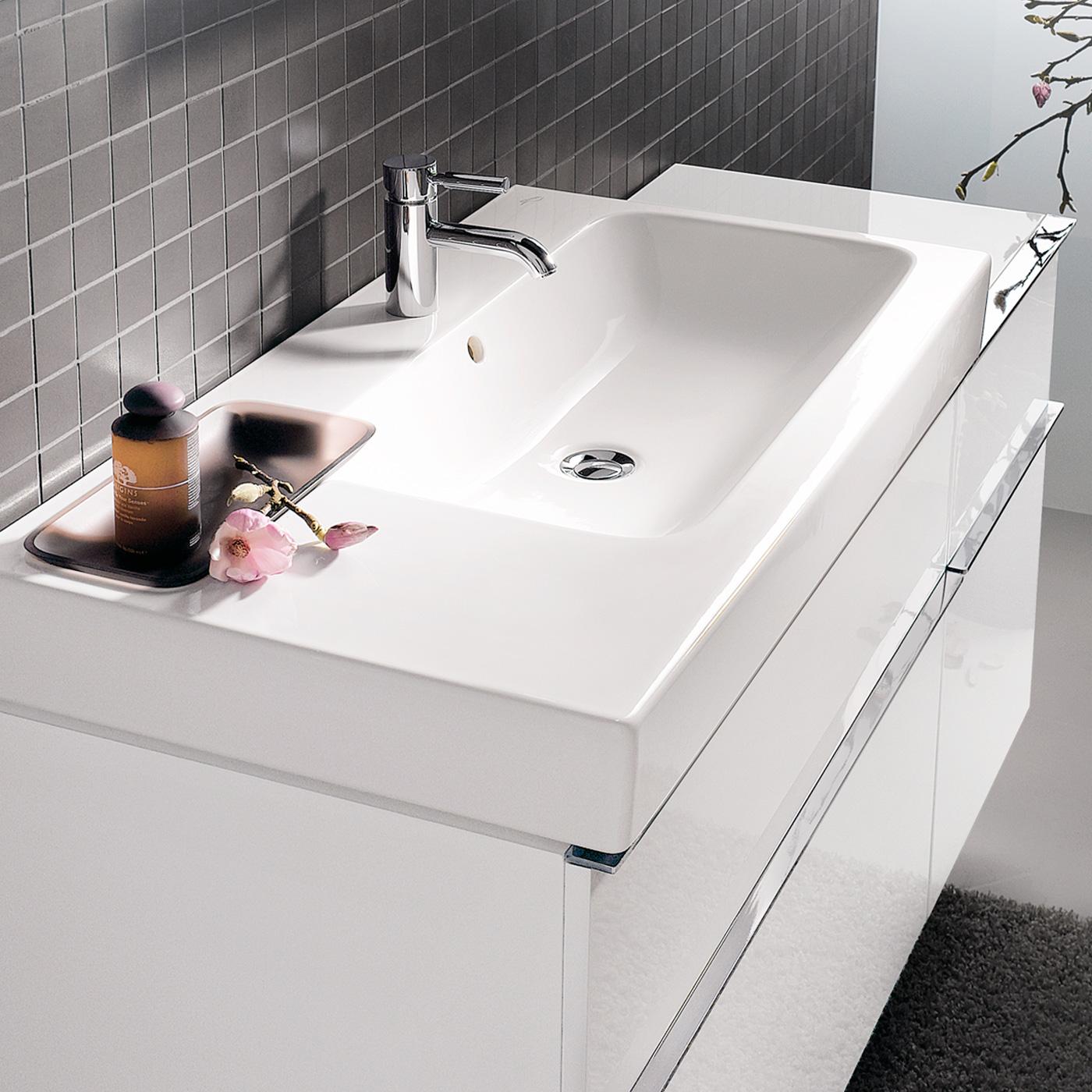 keramag icon waschtisch mit dekoschale wei 124195000. Black Bedroom Furniture Sets. Home Design Ideas