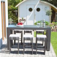 Siena Garden Dayton Gartenmöbel-Set 1 x Bartisch 6 x Hocker