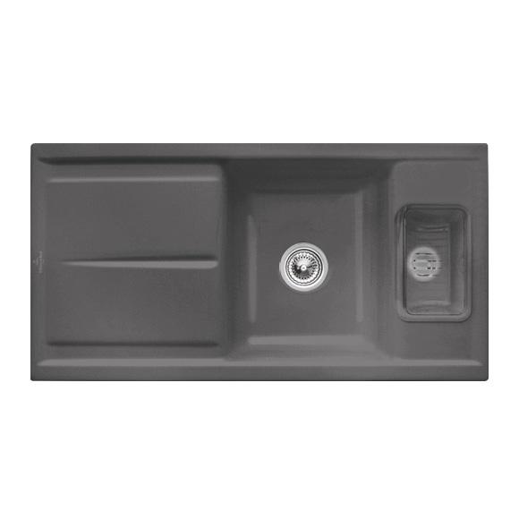Villeroy & Boch Laola 60 Spüle mit Handbetätigung B: 98 T: 51 cm graphit/Position Lochbohrung 1,2,3 und 4 677701i4#1234
