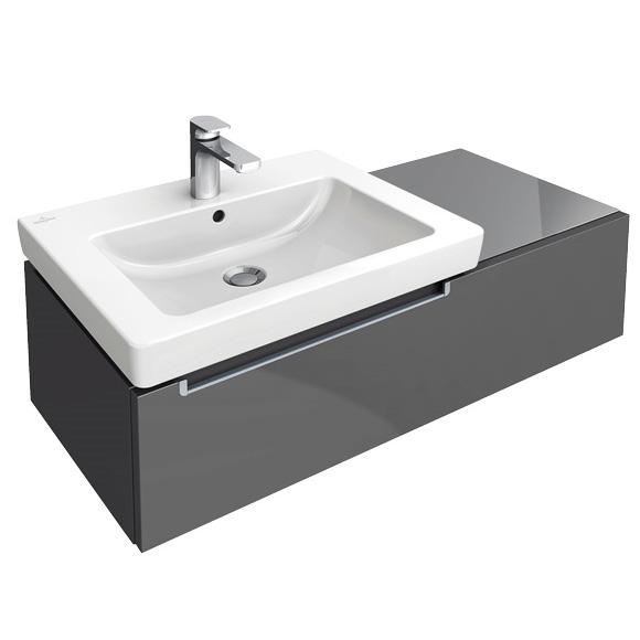 villeroy boch subway 2 0 waschtischunterschrank asymetrisch mit 1 auszug glossy grey. Black Bedroom Furniture Sets. Home Design Ideas